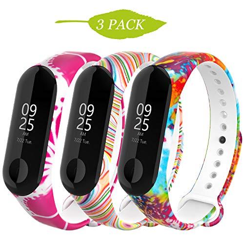 WASPO für Mi Band 4 Armband, Silikon Ersatzband Kompatibel mit Xiaomi Mi Band 3/4 NFC Mehrfarbige Sportarmbänder Damen Herren (Color Pattern)