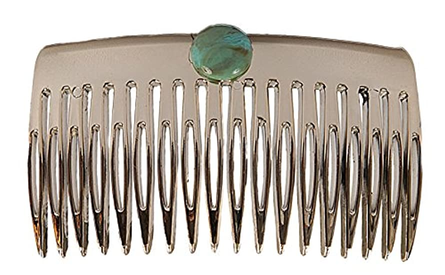 Caravan French Comb Decorated with Turquoise Bead, Gold
