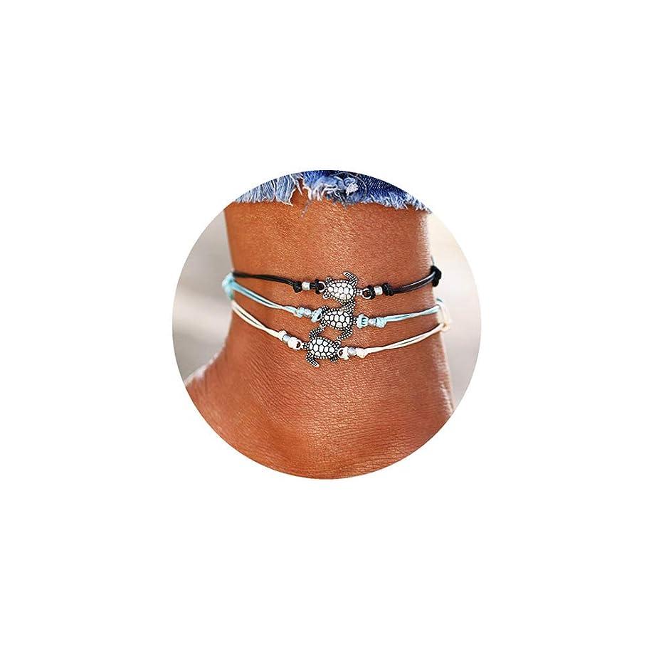 KAMRESH 4pcs Blue Starfish Turtle Anklets Multilayer Boho Sea Handmade Anklet for Women Girls Foot Jewelry Set