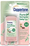 Coppertone Pure & Simple Baby SPF 50 Sunscreen Stick, Water Resistant, Pediatrician Recommended, Mineral...
