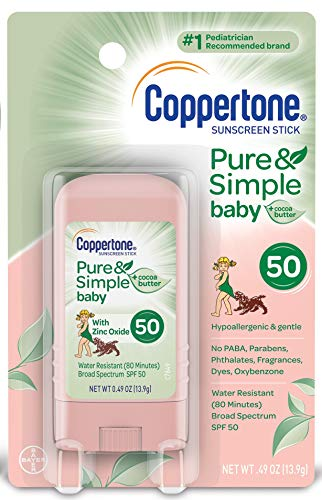 Coppertone Pure & Simple Baby SPF 50 Sunscreen Stick, Water Resistant, Pediatrician Recommended, Mineral Based, Cocoa butter, Broad Spectrum UVA/UVB Protection, 0.49 Ounce