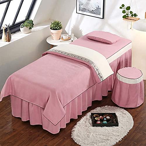 WDCC 4-teiliges Set Professionelle Massage Bettlaken, Spa Bettbezug Hocker Abdeckung Beauty Sheets Massage Bettwäsche Gehobene Massage Bettdecke Khaki 185x70cm (73x28inch)