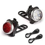 Rantizon Phare Lampe LED de Vélo 650mh Lumière Vélo Rechargeable Avant et Arrière, 4 Modes de Luminosité, Éclairage USB Antichoc Impermeable, pour VTT VTC Cycliste Poussette Camping