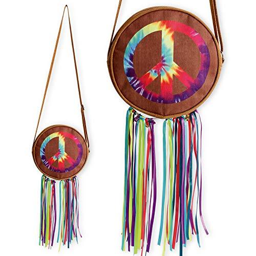 Amakando Practica Bolsa Amor y Paz - 22 x 22 cm - Cartera de Franela Woodstock para Dama - Incomparable para Festival y Fiestas de los aos 70