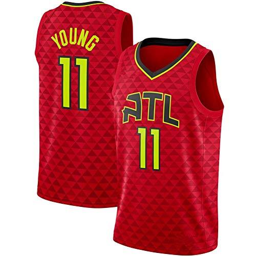 DXG NBA Atlanta Hawks #11 Trae Young Camiseta Uniforme Uniforme Transpirable Secado rápido Sin Mangas Sport Mesh Vest Top,Rojo,S