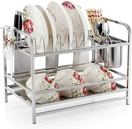 Nfudishpu 2-Tier Dish Rack Dish Drainers Küche liefert Lagerregal Abtropfgestell mit Stäbchen/Messer/Schneidebrett Halter Abtropfbrett