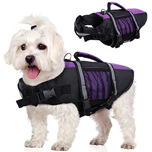 Summer Dog Life Jackets for Swimming,Pet Doggy Safety Lifevest Swimsuit Float Lifejacket Aid with...