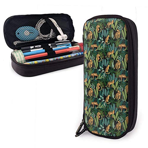 Luipaard en Tropische Blad Vest Lederen Potlood Case Rits Pen Bag Box Houder Studenten Grote Capaciteit Tas