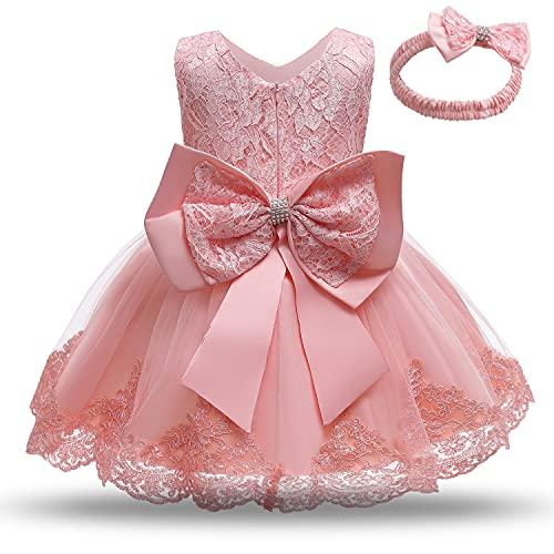 NNJXD Vestido de Novia de Princesa de Encaje Bordado Floral para niñas,...