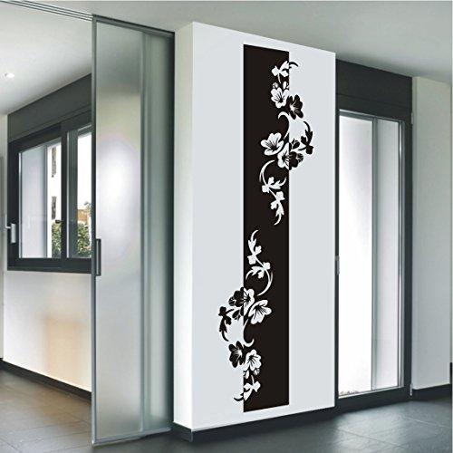 HomeTattoo ® WANDTATTOO Wandaufkleber Banner Hibiskus Blüten Blumenranke Blumen Ranke 480 XL ( L x B ) ca. 180 x 52 cm (schwarz 070)