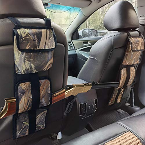 Jolitac Seat Back Gun Rack with Pockets, Camo Gun Storage Sling Bag in Car Universal Fit Truck SUV, Hunting Rifle Holsters Pistols Guns Organizer Holder Reed Camouflage Bags 1 Pair (Camo)