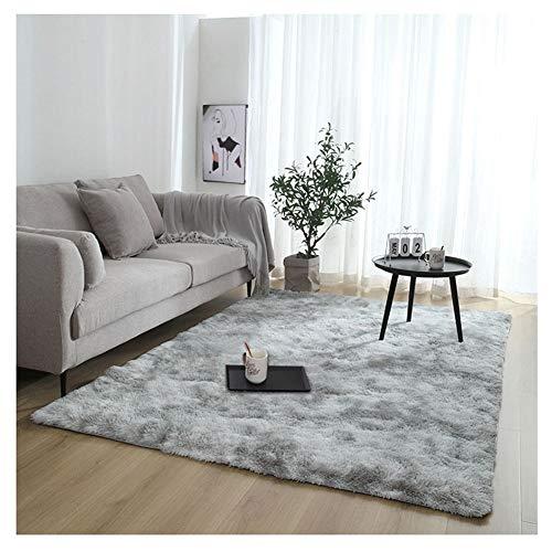 YAOTT Teppich Modern Hochflor Langflor - Shaggy flauschig Teppiche Einfarbig für Wohnzimmer Bettvorleger Schlafzimmer Hellgrau 120 * 160cm