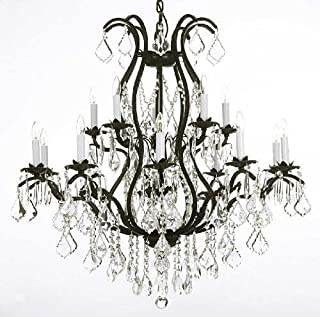 Chandelier Made with Swarovski Crystal! Wrought Iron Chandelier Lighting Chandeliers Dressed with Swarovski Crystal