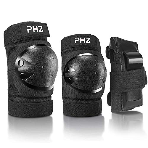 PHZ. Kids/Adults 3 in 1 Skateboard Protective Gear Set Knee Pads Elbow Pads Wrist Guards for Rollerblading Skateboard Cycling Skating Bike Scooter