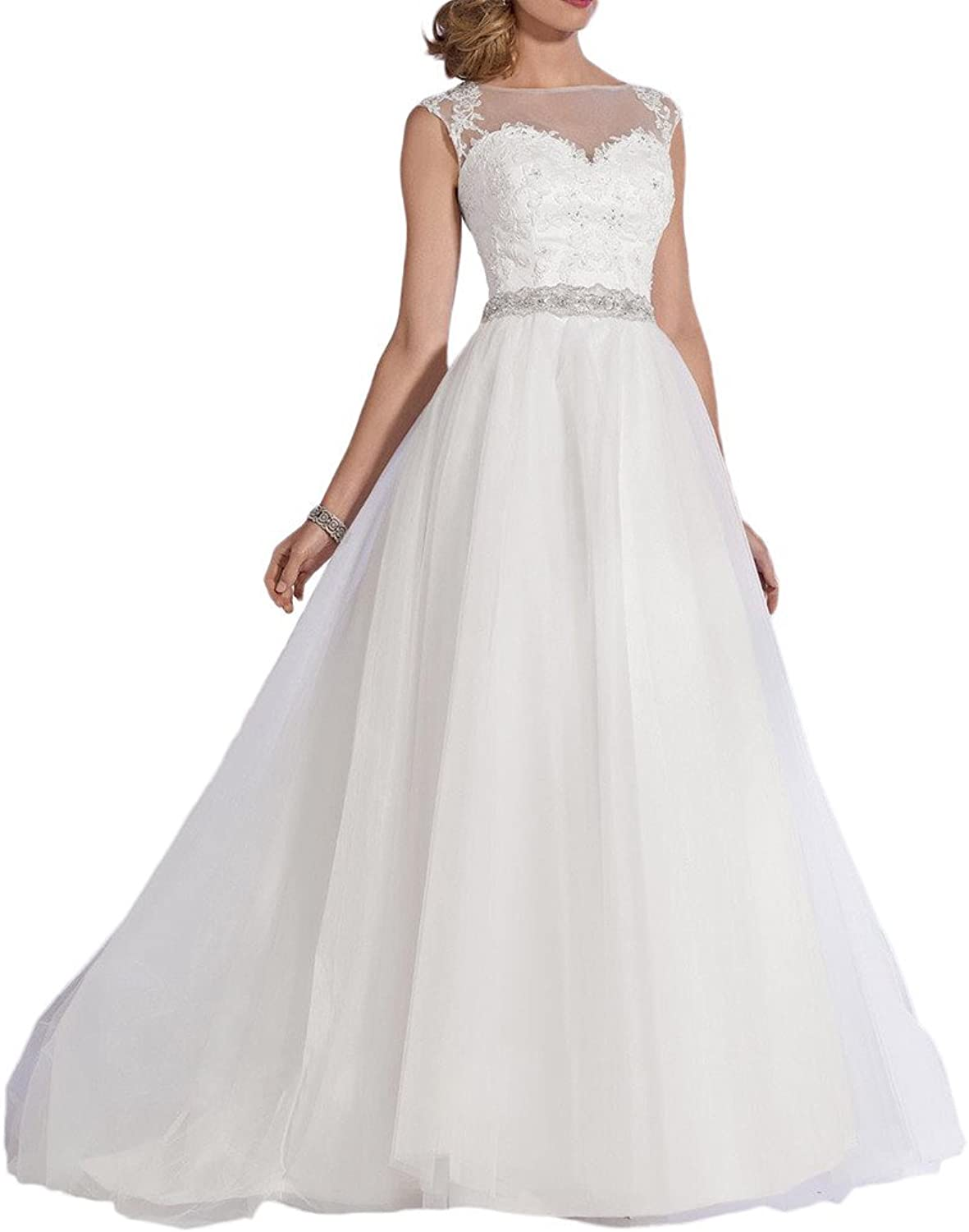 Avril Dress Wedding Gown Ball Gown Perfect Illusion Appliques Belt Long Beaded