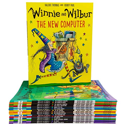 Winnie and Wilbur Series 16 Books Bag Collection Set By Valerie Thomas ( Winnie The Witch, The Big Bad Robot, The Broomstick Ride, The Dinosaur Day ,The Magic Wand, In Winter……