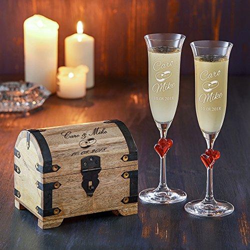 Casa Vivente Geschenkset zur Hochzeit – Sektgläser und große Schatztruhe mit Gravur – Motiv Ringe – Personalisiert mit Namen und Datum – Hochzeitsgeschenke für Brautpaar - 3