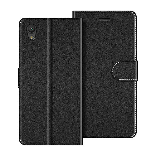 COODIO Handyhülle für Sony Xperia L1 Handy Hülle, Sony Xperia L1 Hülle Leder Handytasche für Sony Xperia L1 Klapphülle Tasche, Schwarz