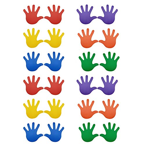 24 Prints 12 Pairs Baby Children Kids Size Handprint Stickers Decals Teacher Created Resources for Floor Wall Stairs to Guide Directions, 6 Different Colors