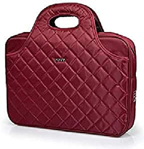 Port Designs Carmin Firenze Red Luxury Quilted Top Loading Travel Laptop/Notebook Bag Case for 15.6 inch Windows/Dell/HP/Macbook