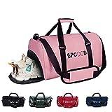 SPGOOD Sporttasche Handgepäck Wasserdicht 30L Reisetasche mit Schuhfach und Schultergurt für Übernachtung Reisen Sport Gym Urlaub Taschen Trainingstasche Fitnesstasche Gym-Tasche (49*23*26cm, Rosa)