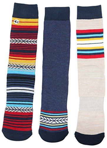 Buffalo David Bitton Men's Graphic Crew Socks 3 Pk-Bl/Red/Yell-10-13