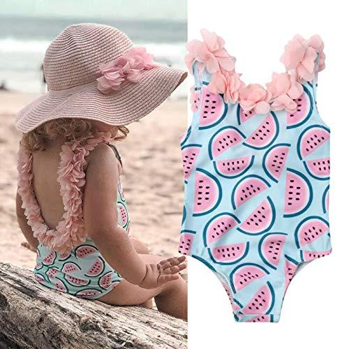 ERYG Baby Girls Swimwear One Piece Swimsuits, Children's Swimsuit, Backless Ruffled Beach Swimwear 12to18Months