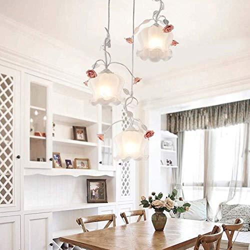 KIWG Kronleuchter Pendelleuchten Florentiner Klassisch Metall Floral Rustikalen Stil Design Für Wohnzimmer Schlafzimmer Kinderzimmer Rose Kronleuchter E27,Weiß