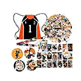 Haikyuu - Bolsa de regalo con diseño de anime Haikyuu 'NO 1' con cordón, 52 pegatinas Haikyuu / 4 pines de botón/30 tarjetas Lomo/llavero/cordón / soporte para teléfono