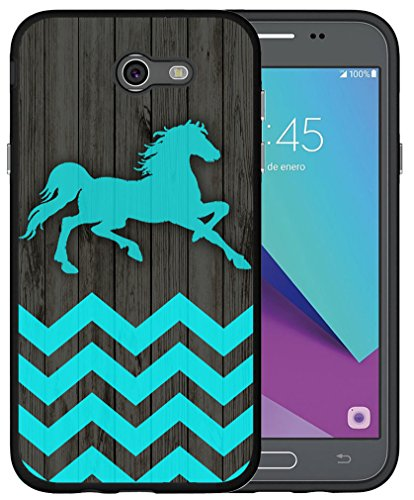 J7 Case 2017 Horse - CCLOT TPU Cover Compatible for Samsung Galaxy Halo/J7 2017/J7 V/J7V 2017/J7/J7 Sky Pro/J7 Perx Cute Chevron Horse Wonderful Blue Design Animal