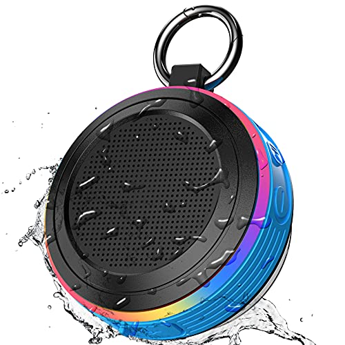 Altavoz Bluetooth Ducha IPX7 Impermeable Altavoz Bluetooth Portatil con Ventosa y Luz LED de Color, Altavozs Ducha Inalámbrico con FM Radio, Sonido Estéreo HD Potentes Speaker Bluetooth 5.0, Azul