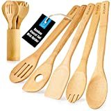 Zulay (6-Piece) Bamboo Cooking Utensils With Holder - Premium Wooden Utensils For Cooking & Baking -...