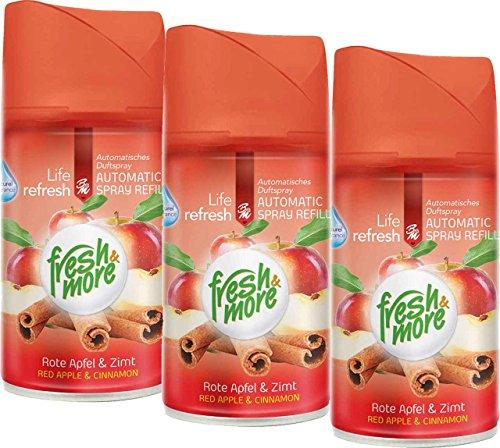 3x Fresh & More Rote Apfel&Zimt Nachfüller Für Automatische Duftspender, 250ml