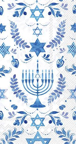 Boston International IHR 3-Ply Guest/Dinner Paper Napkins, 8.5 x 4.5-Inches, Hanukkah