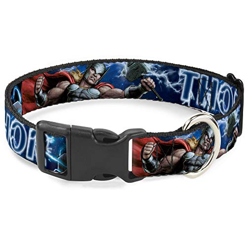 Dog Collar Plastic Clip Avengers Thor Hammer Action Pose Galaxy Blues White 15 to 26 Inches 1.0 Inch Wide
