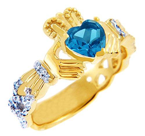 Pequeños Tesoros - Anillos Damas Alianza De Boda 10 KT Oro 471/1000 Diamante Claddagh 0.40 KT con Azul Topacio Piedra