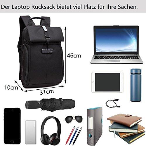 Neuleben Damen Herren 15,6 Zoll Laptop Rucksack Rucksäcke Diebstahlschutz Wasserfest für Business Schule Reise (Schwarz)