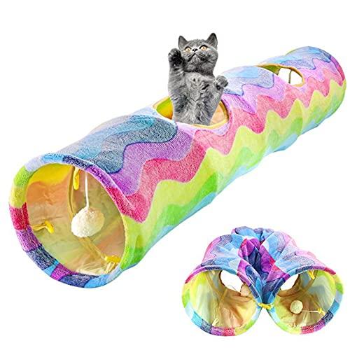 Tunnel De Chat Jouet Rainbow Wave Kitten Play Tunnel Pliable Puppy Tube Jouet Jouets Jouets Interactifs avec Une Boule en Peluche Fit pour Chat Chaton Chiot