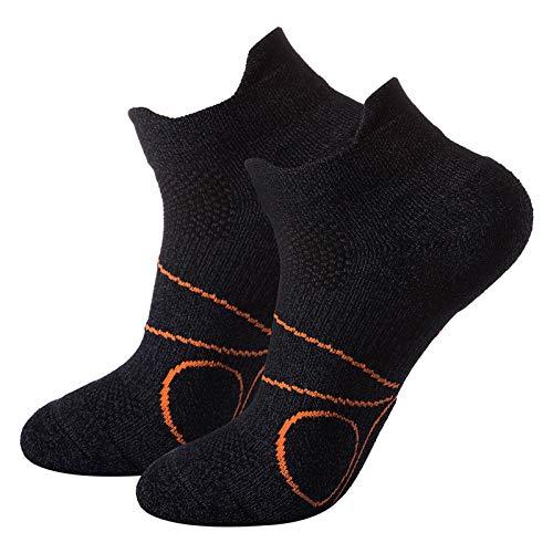 Pauboland 2 Paar Running-Socken für Damen und Herren, Atmungsaktive Sportsocken, Anti-Geruch Gepolsterte Cool-Max Laufsocken Blasenschut,Schwarz,Größe L(43-46)