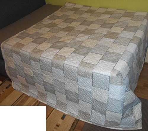 MB Warenhandel24 Tagesdecke XXL Allzweckdecke ca. 220x240 Patchwork Landhaus Sofa Bettüberwurf (Champagner mit floraler Steppung)