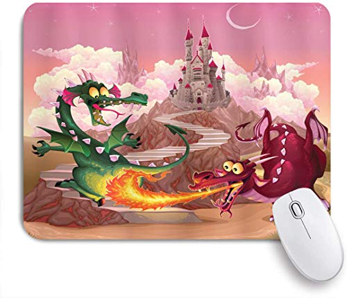 NANITHG Ultra Thick Waterproof Mouse Pad,Fantasy Funny Dragons in Flame in front of Castle Fable Comic Legend Creatures Illustration,Works for Computers,Laptop,All Types of Mouse pad,Office/Home