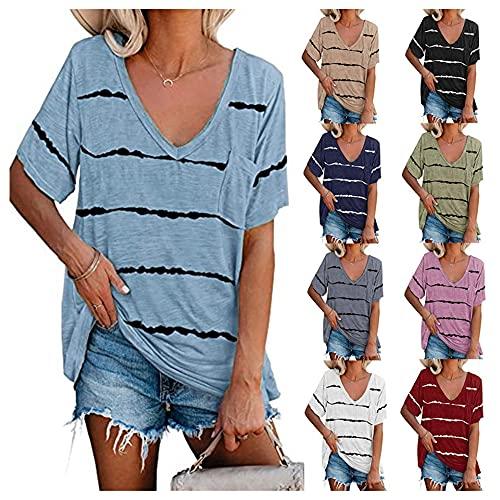 Tops Mujer Blusa Mujer Sexy con Cuello En V Rayas Empalme Manga Corta Verano Grande Suelto Cómodo Moda Casual Mujer Camiseta Mujer Camisa A-Blue XL