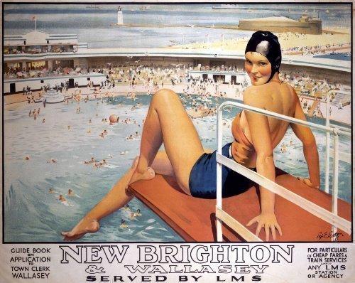 New Brighton & Wallasey (pubblicità Old rail). Magnete da frigorifero (se ls).
