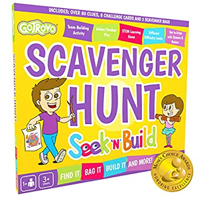 Scavenger Hunt Game for Kids. GoTrovo Seek'n'Build Indoor Outdoor Find It Game. Includes 2 Color in Bags to Collect Your Treasures Plus Challenge Cards to Build/Experiment/Get Arty and Creative!