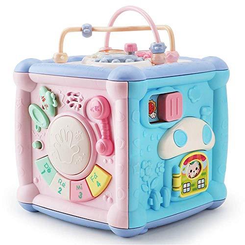 Detazhi Aprendizaje Ocupado Actividad Cubo, Juguetes Musicales multifuncionales Bebé para niños, música electrónica de música Cubo Reloj de Engranajes Bloques geométricos Juguetes educativos