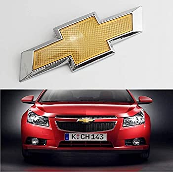 Front Grill Bowtie Emblem Compatible with Chevy Cruze 2011-2014 Front Bumper Emblem Gold Chrome Grille Badge Grill Sign Symbol Logo