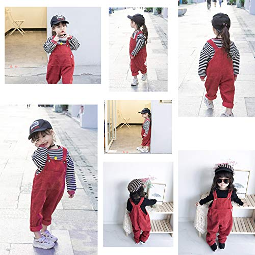 Camilife Baby Toddler Boys Girls Corduroy Dungarees Overall Corduroy Dungarees Harem Trousers for 1-4 Years Old Vintage Retro Retro Red