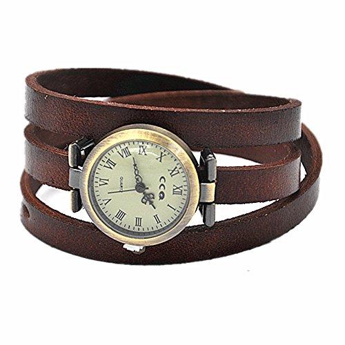 MINILUJIA Reloj de pulsera de cuero genuino para mujer, color marrón