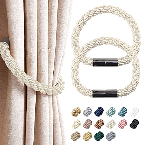 NICEEC 2 Pack Strong Magnetic Curtain Tiebacks Modern Simple Style Drape Tie Backs Convenient Decorative Weave Rope Curtain Holdbacks for Thin or Thick Home & Office Window Draperies (Beige)