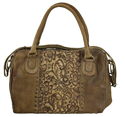 Sunsa Ledertasche Damen Handtasche Tasche Shopper Schultertasche Tote große Handgelenktasche Henkeltasche Damentasche Weekender Retro Vintage groß Leder Frauentasche Umhängetasche Braun Bowlingtasche